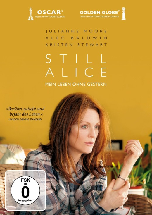 "Yellow Background with ""Still Alice"" written on it. A woman looks into the distance, her left hand in a half open fist, facing her face. She is sitting down and looks lost, while in a warm house environement."